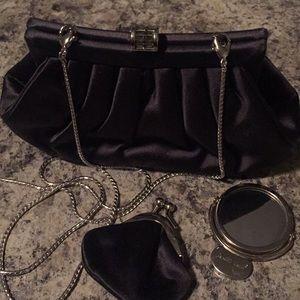 Judith Leiber Black Satin Evening Bag 😍